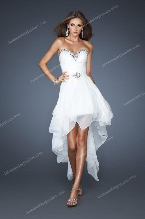 High and Low Strapless White Homecoming Dresses La Femme Dress 18970