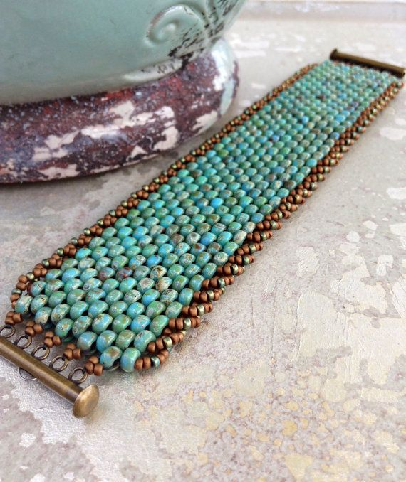 Peyote Stitch Beaded Bracelet Beadweaving by CountryChicCharms