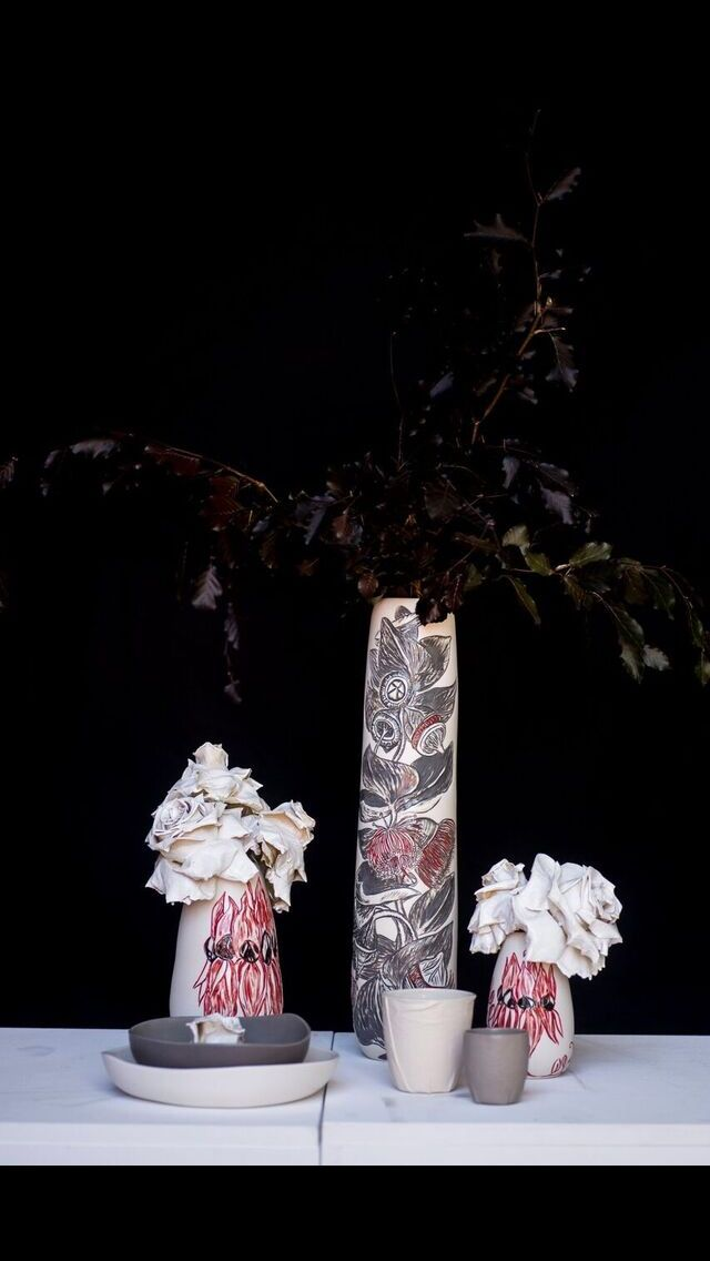 Australian botanicals. Rediscover Ceramics by Danica Wichtermann.  Photo through shoot for a cause perth.