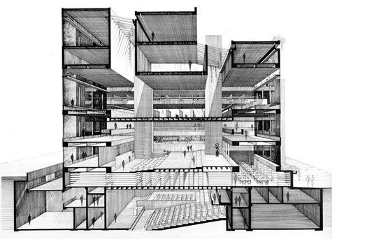 Yale University Art and Architecture Building: Section Perspective. [Via the Paul Rudolph Foundation]