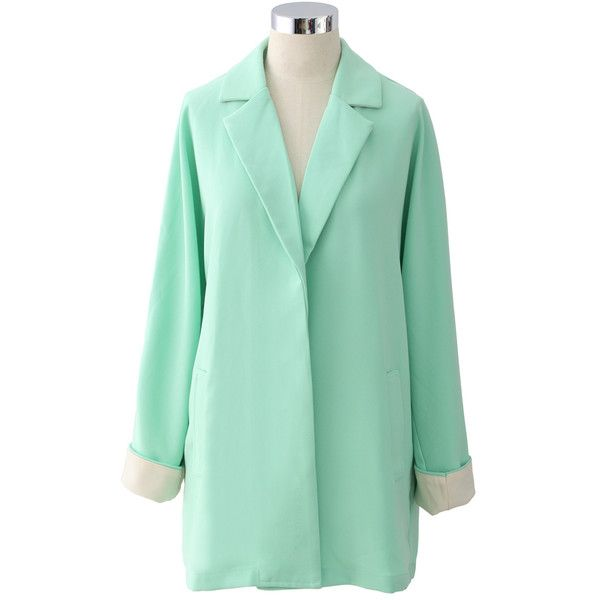 Chicwish Macaron Mint Oversized Blazer ($59) ❤ liked on Polyvore featuring outerwear, jackets, blazers, blazer, green, green blazer jacket, mint green blazer, mint jacket, mint blazer and green jacket