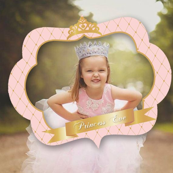 pink and gold princess photo booth prop by PRINTABLEPARTYPAPER