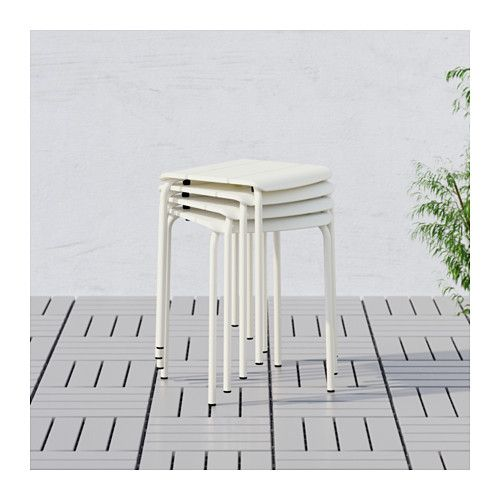 VÄDDÖ Stool, outdoor, white - white
