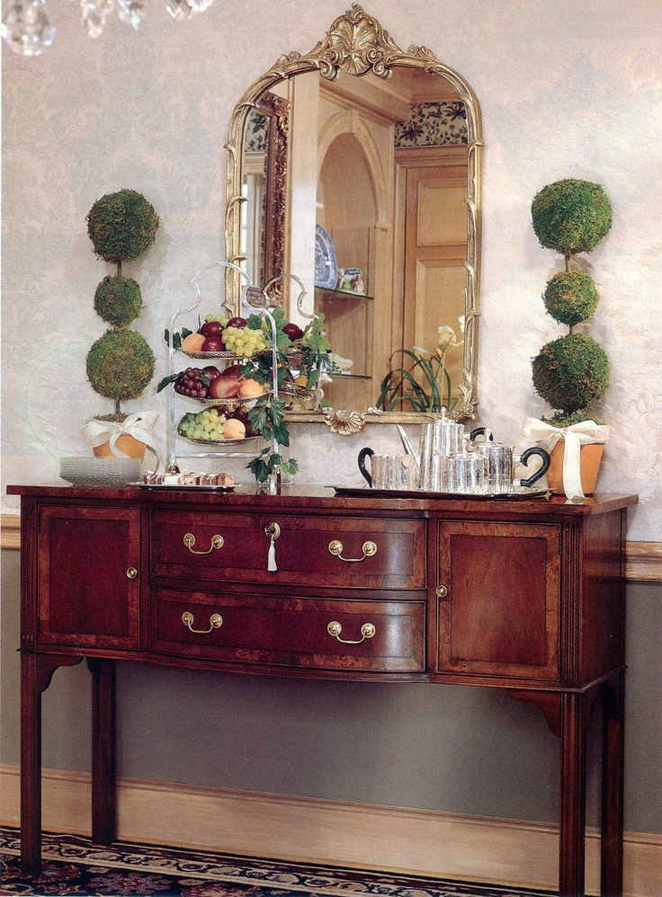Hepplewhite Sideboard From Hekman And Two Topiaries For