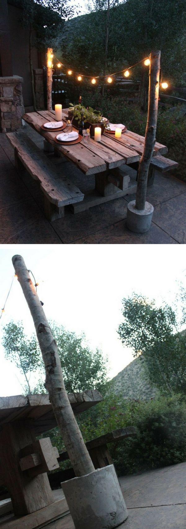 アウトドアの灯りDIYアイディア Check out the tutorial on how to make easy DIY outdoor string light poles @istandarddesign