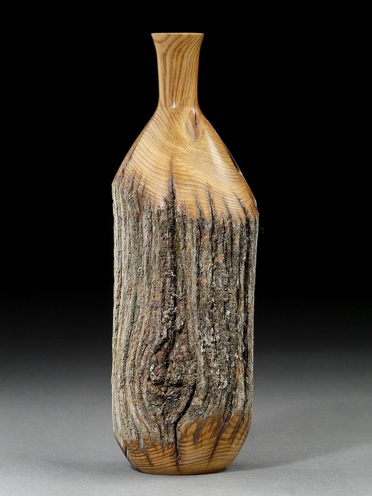 Weathered American Chestnut vase. Salvaged from the forest floor, where Chestnuts died off nearly a century ago. Timberturner.com
