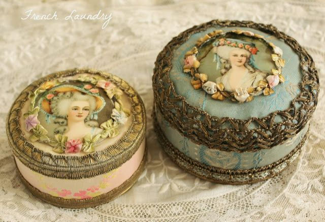 French Laundry: The Scoop on Antique Ribbon Work Powder Boxes
