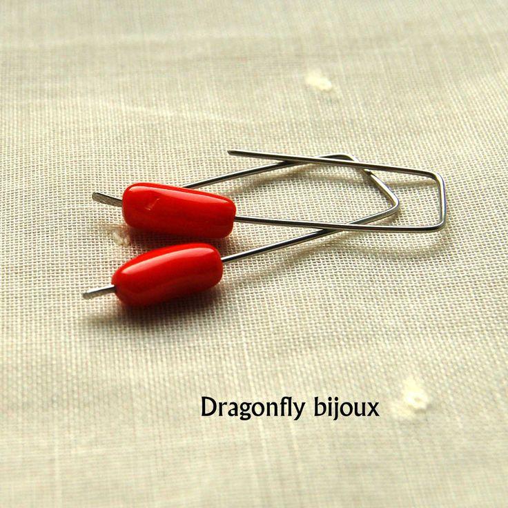 handmade red coral earrings http://dragonflysjewelry.blogspot.cz/