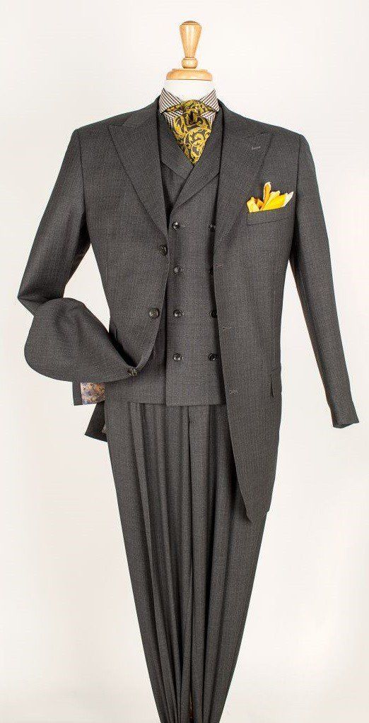 Grey Stripe Suit Fashion Mens 3 Piece Suits Mens