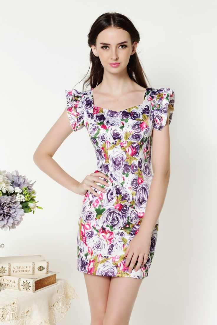 Designer Women Summer Sliming Rose Flower Floral Print Chiffon Mini dress free shipping | OK Fashion