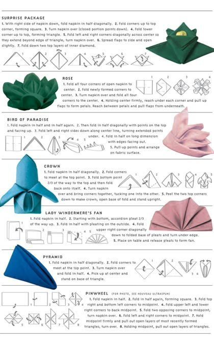 DIY Napkin Folding 7 Easy Ways to Fold a Napkin….definitely trying one of these for my next dinner party