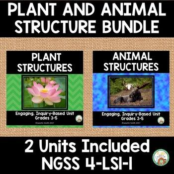 This bundle includes two units: Plant Structures and Animal Structures. This bundle was created to support NGSS 4-LS1-1: Construct an argument that plants and animals have internal and external structures that function to support survival, growth, behavior, and reproduction.