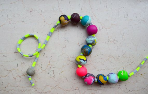 Bohemian necklace/neon necklace/bright necklace/colorful by IKKX