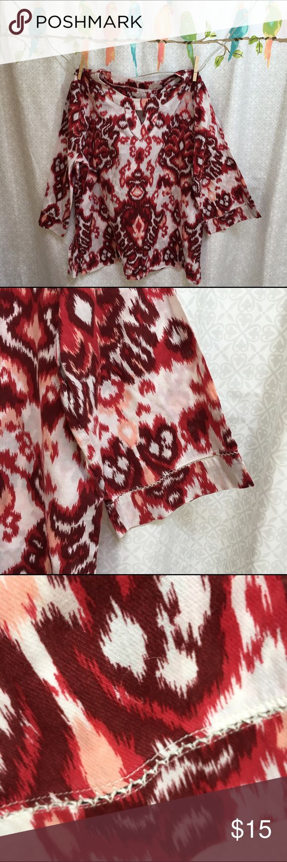 Ikat Pullover Cotton Blouse Beautiful blouse has a 48 inch bust and is 26 inches long.  Always happy to bundle.  ☺️. Wearing preowned clothing is an ethical way to have a fashionable wardrobe. Feel free to ask any questions and thank you for visiting my closet. White Stag Tops Tunics