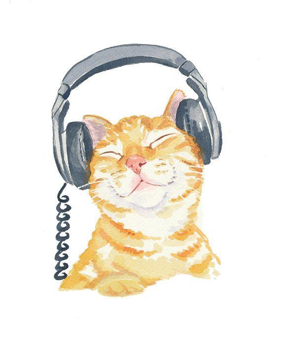 Orange Tabby Cat Watercolor PRINT - Music Art, Cat Illustration, 5x7 Painting Print