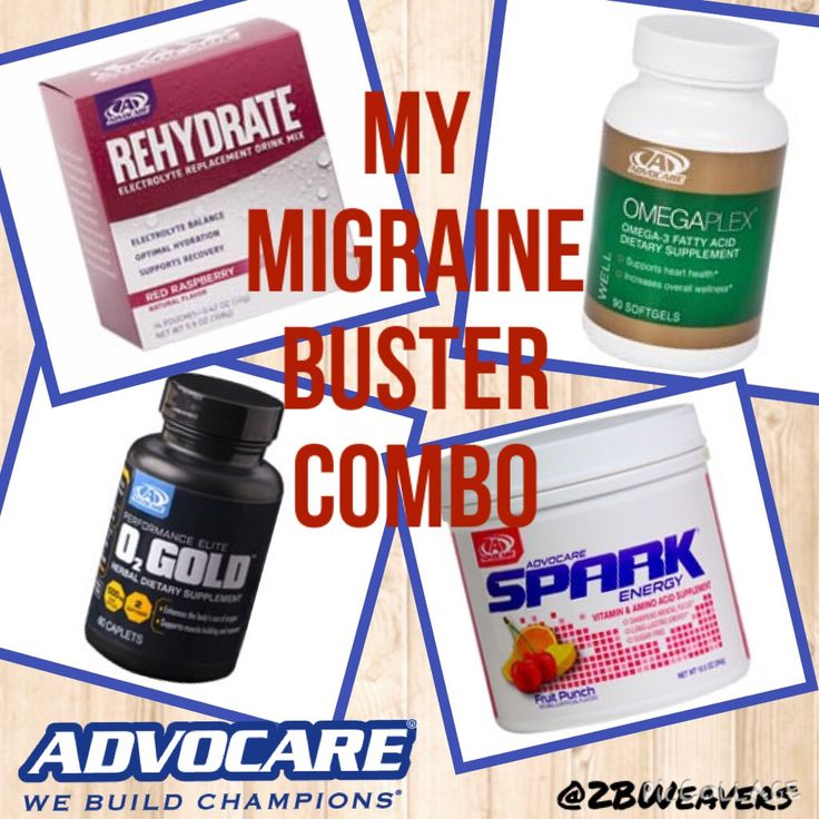 My Migraine Buster Combo. Spark, Rehydrate, O2 Gold, Omega Plex. AdvoCare We Build Champions. @2BWeavers
