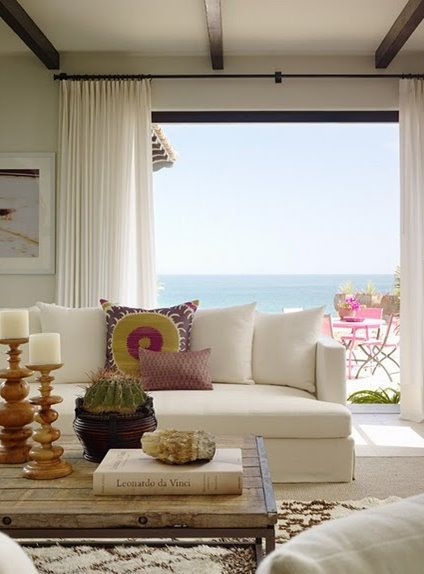 Keep it Simple: White Curtains and Natural Blinds