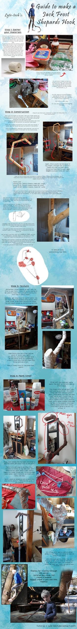 Jack Frost Staff Tutorial by ~Lyte-tech on deviantART. This is a little more expensive but has a great idea for adding texture to the staff