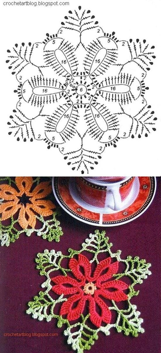 Pretty Christmas crochet small doily motif pattern. Plus many other free patterns.