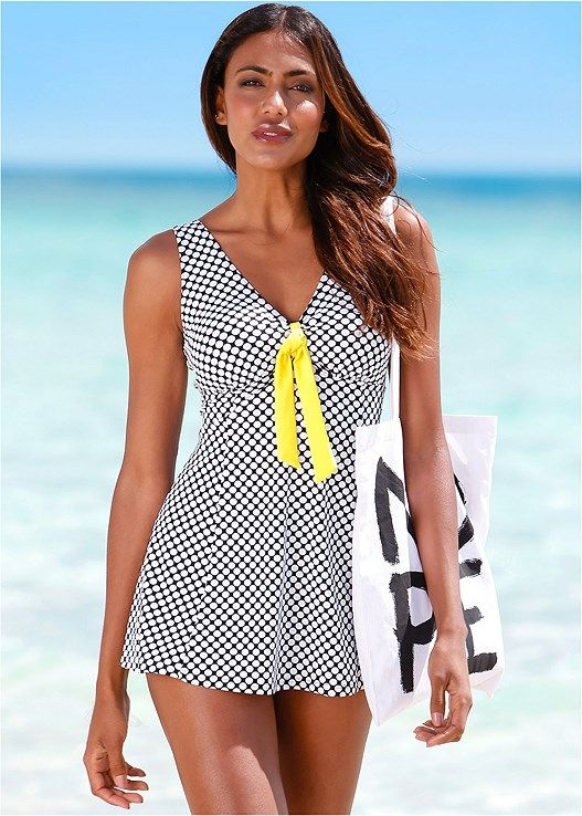 Venus Women's Tie Front Swim Dress One-Piece Swimsuit - Black/white, Size 10