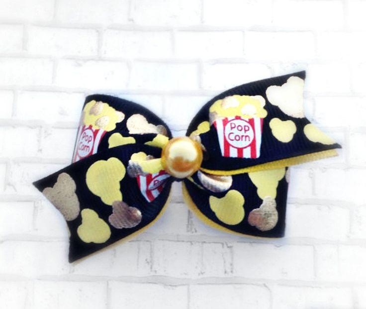Popcorn hair bow, dog hair bows, dog bows, small hair bow, Movie night hair bow…