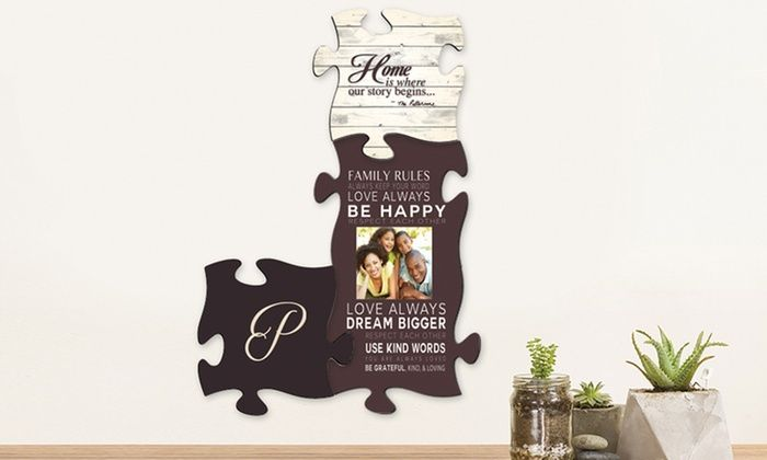 """Custom Puzzle Piece Wall Art from Monogram Online: 10""""x10"""" or 18.25""""x10"""" Custom Puzzle Piece Wall Art from Monogram Online"""