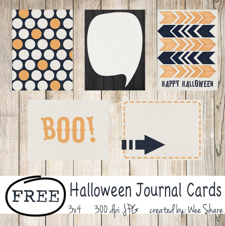 Free 3x4 Halloween Journals Cards for Project Life