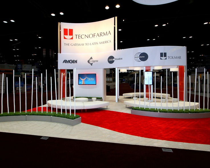MG mixed in technology using plasma screens that displayed innovative images. The exhibit beautifully  reflected the Tecnofarma brand by being wrapped in a distinctive red and white color scheme and incorporating organic elements.  MG Design: Trade Show Exhibits, Events, Environments, Experiences. www.mgdesign.com
