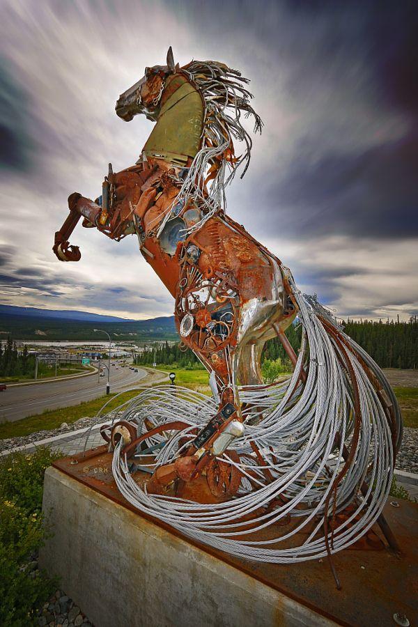 The Horse of Whitehorse sculpture (Whitehorse, Yukon, Canada).