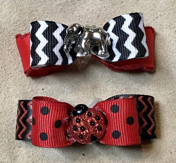 Dog Hair Bows Red Chevron Elephant and Red & Black Ladybug