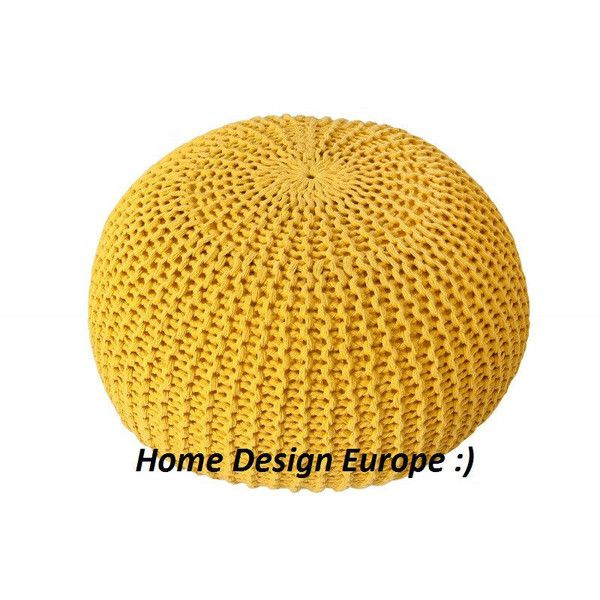Bean bag, yellow, Pouf, footrest ball Knit, Crochet Pouf Poof,... (£62) ❤ liked on Polyvore featuring home, furniture, ottomans, yellow furniture, circular ottoman, euro furniture, yellow ottoman and european furniture