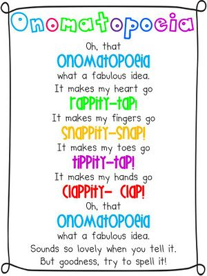 onomatopoeiaPoetry For Kids, Onomatopoeia Activities, Old Lady, Poetry Writing For Kids, Languages Art, Classroom Ideas, Poetry Activities For Kids, Anchors Charts, Figures Languages