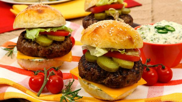 Rosemary Beef Burgers with Jalapeno Mayonnaise