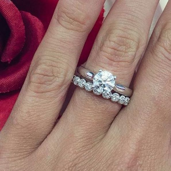 Solitaire Engagement ring with Diamond wedding band (Hearts On Fire)