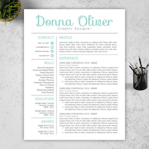 Modern Resume Template  CV Template and Cover Letter by ResumeBook