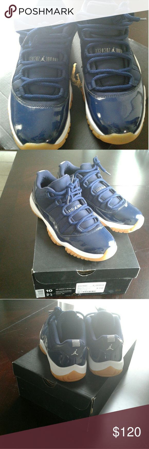 Retro jordan 11 navy gum bottoms It has navy blue patent leather,and nice duralable gum bottom so the shoe will last.its in mint condition,no creases or damage has been made to the shoe, it still has that new fresh out the box smell only worn once. I only do in public meet ups only, so if you are in brockton ma, and are intrested let me know, no delivery Jordan Shoes Sneakers