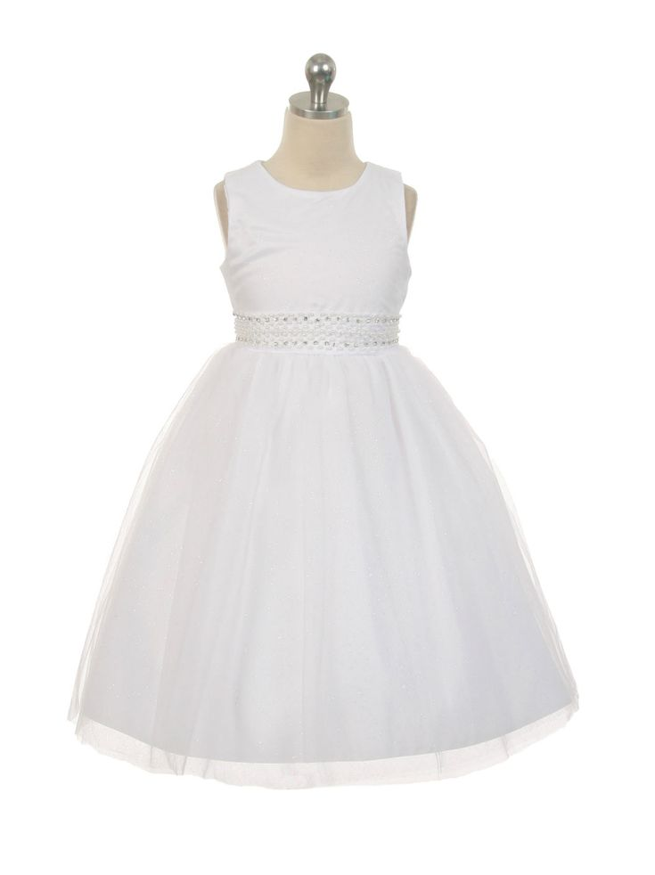 Girls Dress Style 1031 -  Sparkly Tulle Dress with Rhinestone Accents in Choice of Color  Sparkly tulle dress with hand-sewn pearls and diamonds accents. Perfect for any occasion. The dress is fully lined and the skirt has additional netting underneath for a fuller look. Length - Tea Length (NOTE dress may fall at different lengths based upon each child's body proportions).  http://www.flowergirldressforless.com/mm5/merchant.mvc?Screen=PROD&Product_Code=RK_1031W&Store_Code=Flower-G..