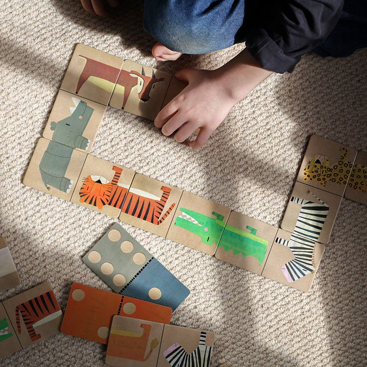 Janod Savannah dominoes are aimed at three to seven year olds. This game has African animals on one side with traditional domino spots on the reverse.