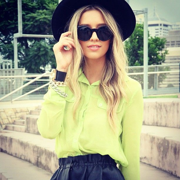 Sabo skirt Neon Blouse: Fashion, Style, Blouse, Clothes, Color, Neon, Lime Green, Closet, Has