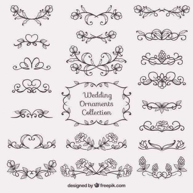 Sketches casamento ornamento coleção