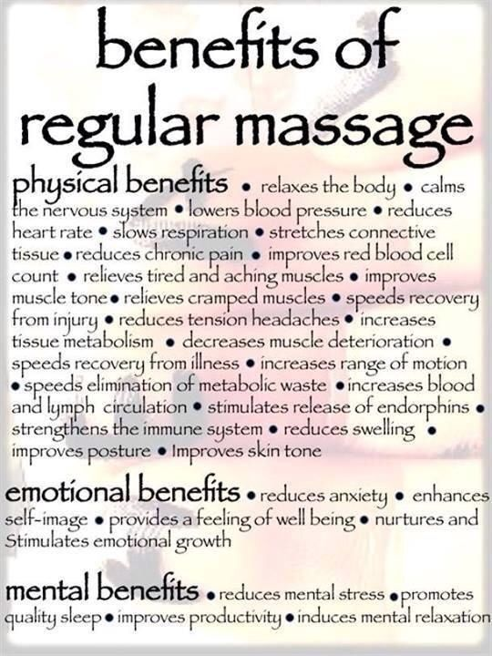 Physical, Emotional Mental #benefits of #Massage Therapy. Have questions about #RMT? Contact Us! http://www.semisportmed.com/sport-massage-therapy-p135624