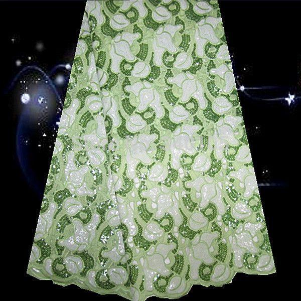 (5 ярдов/серия) PO7-3! зеленый + белый! высокое качество Африки двойной органзы кружева с блестками, наиболее популярные Французский шнурок для платья партии!