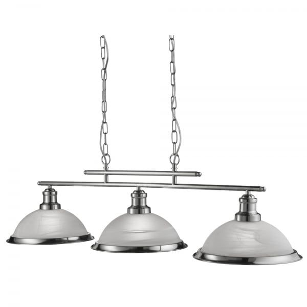 Searchlight lighting bistro 3 light ceiling bar pendant in satin silver finish with acid glass shades