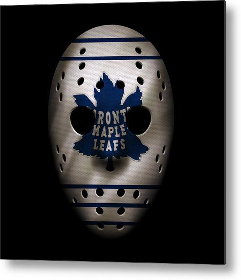 Maple Leafs Metal Print featuring the photograph Maple Leafs Jersey Mask by Joe Hamilton