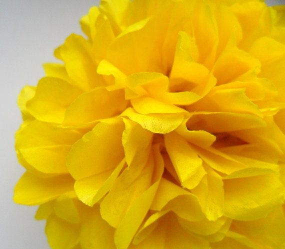 1 Yellow Tissue Paper Pom Pom  Wedding Decoration  by PaperPomPoms