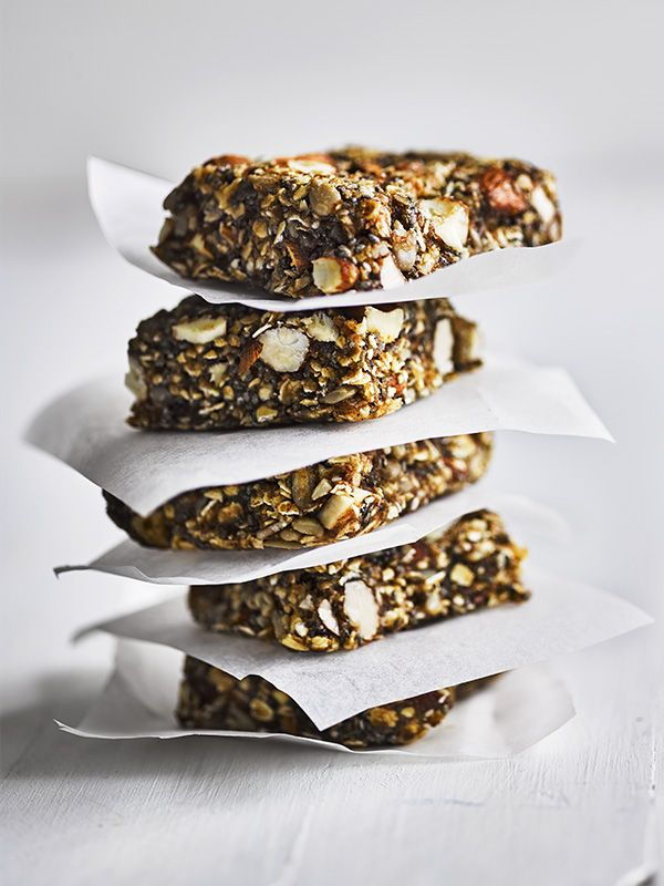 Quick to make and easy to eat on the go; fast and raw food is a hot healthy trend. These breakfast bars use dates and nut butter to hold together. Experiment with different seeds and nuts in your next batch, and use agave for a vegan version.