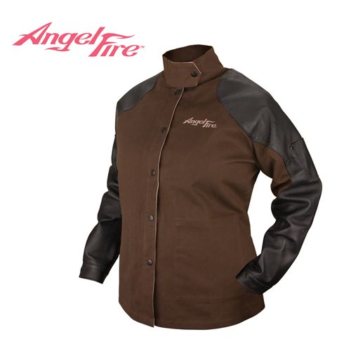 ◾9 oz. flame resistant cotton women's AngelFire® Hybrid™ welding jacket with grain pigskin sleeves ◾Welder's collar protects against sparks ◾Dual inside and scribe pockets ◾Adjustable cuff and waist straps