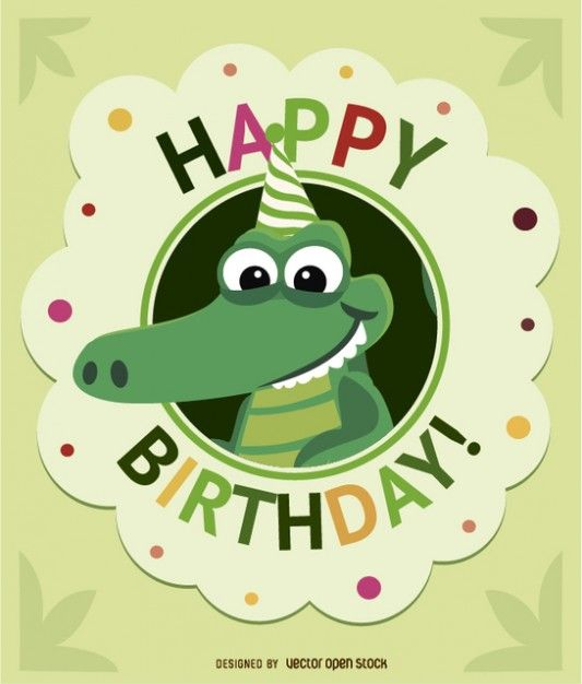 Birthday cocodrile greeting card Free Vector