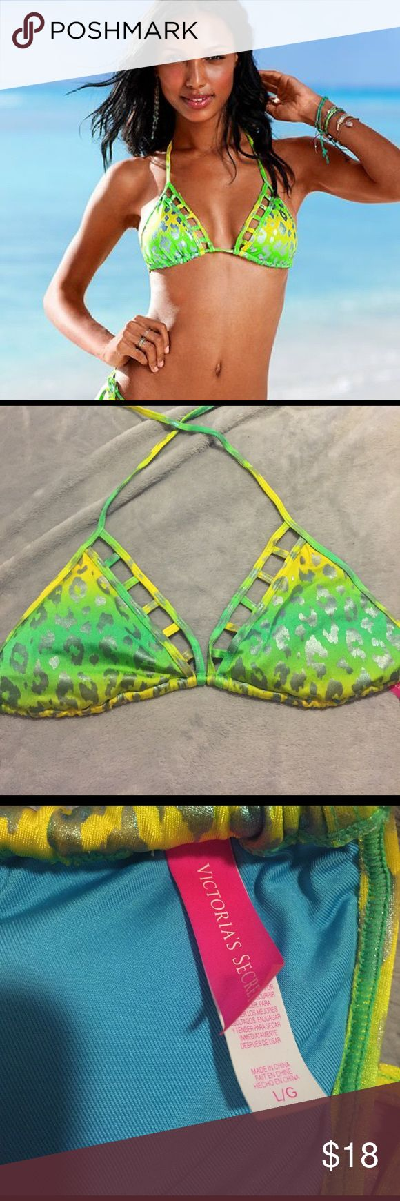 Victoria's Secret bikini top!! Green and yellow cheetah print with square cut outs. Never worn size large!! Victoria's Secret perfect condition looks so cute on!! Victoria's Secret Swim Bikinis