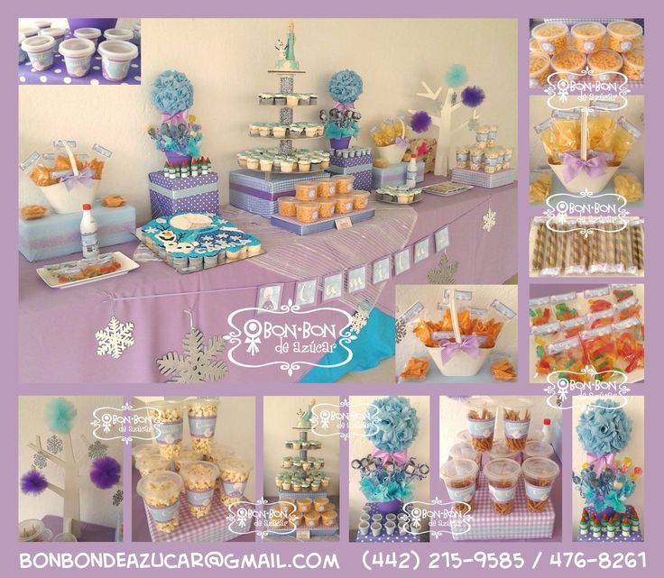 Mesa de snacks dulces y cupcakes con tema de frozen para - Mesa dulce infantil ...